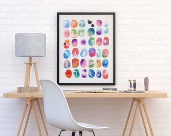 "Colorful Watercolor Painting Print ""Color Play"" by Jules Tillman Fine Art Print contemporary mixed media bright painting circles wall art"