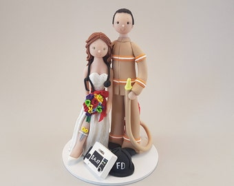 Firefighter & Paramedic Personalized Unique Wedding Cake Topper