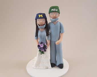 Unique Cake Toppers - Doctor & Nurse Customized Wedding Cake Topper