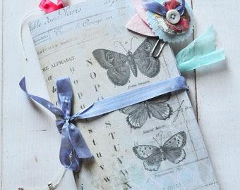 Handmade Junk Journal - Vintage Butterfly - Travel Journal - Adventure Book - Smash Book - Writing Diary - Art Journal - Memory Keeping