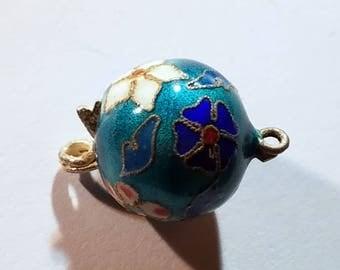 Vintage Cloisonne Aqua Blue Enamel Floral Clasp
