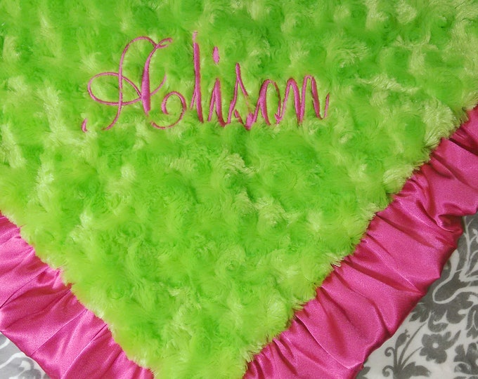 MinkyBabyBlanket Gray Damask Hot Pink and Lime Minky Swaddle Blanket