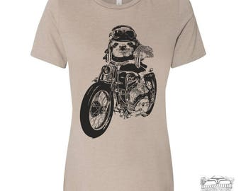Womens Boyfriend Tee Motorcycle SLOTH relaxed jersey T-shirt - s m l xl xxl - Hand Screen Printed Zen Threads + Bella Canvas 6400