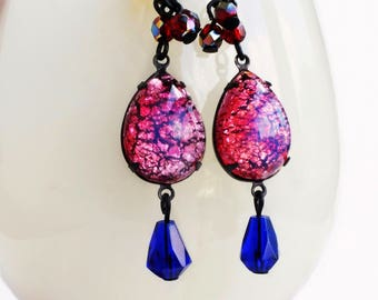 Hot Pink Opal Dangle Earrings Vintage Glass Fire Opal Dangles Hot Pink Royal Blue Red Glass Statement Earrings Opal Jewelry