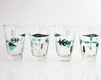 Mid Century Modern Libbey Atomic Leaf Glasses / Mid Century Drinking Glasses / Mid Century Barware / Mid Century Low Ball Glasses
