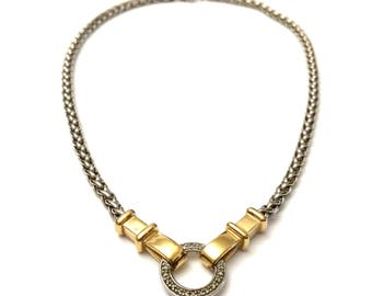Alwand Vahan Necklace, RARE 14k Gold & Sterling Necklace, 14k Yellow Gold, Designer Couture Jewelry, 14k Diamond Necklace Circle Pendant 14k