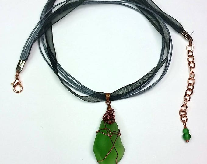 Copper Wire Wrapped Green Beach Glass Pendant on Black Ribbon with Extender Chain