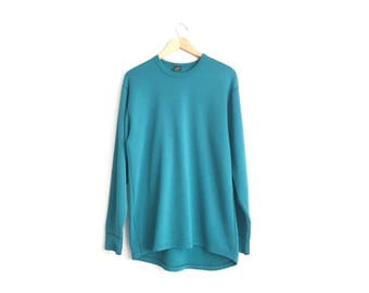 Size L (Tall) // REI BASE LAYER Crew Top // Teal - Long Sleeve - Undershirt - Camping - Hiking - Vintage '80s.