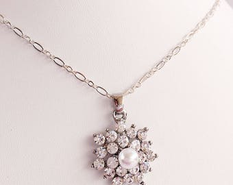 Crystal Bridal Necklace - Crystal Wedding Pendant - Bridesmaid Jewelry - MELODY Crystal