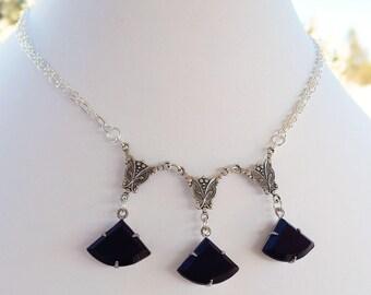 Black Art Deco Necklace - Silver Necklace - Black Collar Necklace - INTRIGUE Black