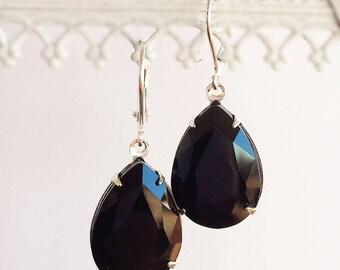 Black Drop Earrings - Teardrop Earrings - Jet Black Earrings - CAMBRIDGE Black