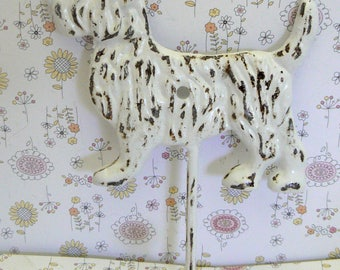 Dog Scottish Terrier Hook Cast Iron Shabby Chic White Scottie Canine Vet Groomer Pet Puppy Lover Leash Hook Gift Idea