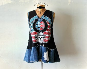 Jason Aldean Shirt Country Western DIY Concert T-Shirt Music Festival Top Upcycle Denim Jeans Sleeveless Tee Shabby Chic Clothing M L 'RAINE