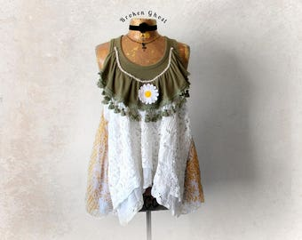 Lace Clothing Boho Fringe Shirt Shabby Chic Top Hippie Women's Tank Gypsy Style Swing Flowy Top Eco Friendly Up Cycled Clothes S M 'BLYTHE'