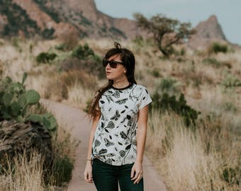The Camp Tee, American Made, Hand Printed, T-Shirt, casual tshirt, floral printed, macabre, nature print, by simka sol