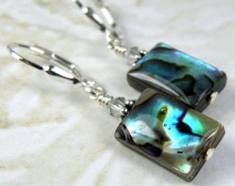 Shell Earrings, Abalone Jewelry, Paua Earrings, Natural Mother of Pearl, Beach Teal Rectangle, Sterling Silver, Handmade