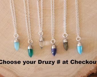 Spear Gemstone Necklace, Labradorite, Blue Spear Pendant, Turquoise Necklace, Sterling Silver, Lapis, Quartz Pendant, Layer Necklace