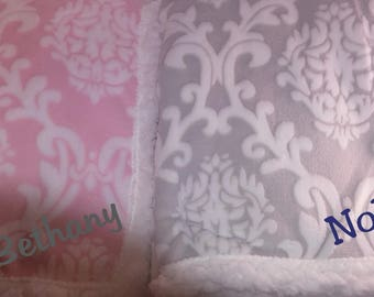 Soft & Cuddly Blanket for Baby- Monogrammed with Name-Pink, Gray, Boy, Girl