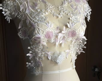 IVORY & LILAC Beaded Lace Applique PAiR for Bridal Illusion Gowns, Garments, Costume Design PR 329