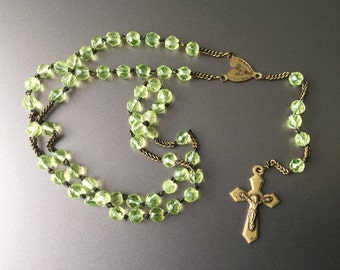 RARE Green Uranium Vaseline Glass 1800s Antique French Rosary with a Brass Wheat Chain and Brass Crucifix
