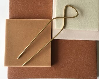 Hair pin. Brass Hair Stick. Modern Hair Pin. Hammered and Stamped. Gold Hair Stick. Hair Accessory. Golden Brass Hair stick.