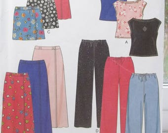 Easy Girl's Wardrobe New Look 6930 Sewing Pattern, Pullover Top, Round Neckline, Drawstring Pants & Skirts, Stretch Knits Only Size 7 - 14