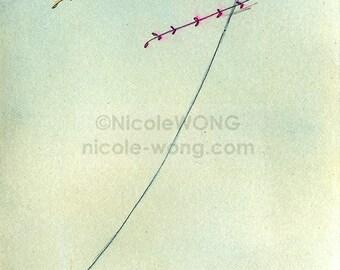 Original Artwork 4x6 Ink Drawing & Watercolor Painting -- Kite Flying