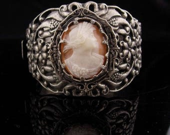 "Antique Cameo Bracelet / genuine cameo / 2"" wide / hinged bangle / vintage Victorian bracelet / silver fancy design"