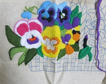 Partially Finished Crewel Embroidery Kit Pansy Basket Vintage Pauline Denham Design All Supplies Included