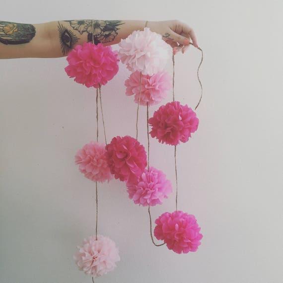 Mixed Pinks Pom Pom Garland / tissue paper garland / nursery decoration / birthday / baby shower / wedding decor / pink party decorations