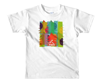 Short sleeve kids t-shirt LOVE THE TREES, eco, forest, recycle, Christmas, planet