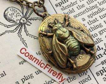 Brass Bug Locket Vintage Locket Necklace Small Brass Oval Locket Gothic Victorian Steampunk Locket Small Locket The Fly Locket
