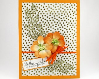 Birthday cards for her, happy birthday cards, elegant birthday cards, orange and gold, Birthday card for mom, Birthday card for wife