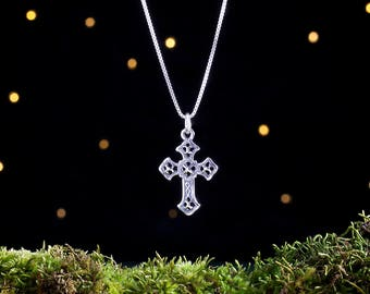 Sterling Silver Cross - Double Sided - (Pendant, Necklace, or Earrings)