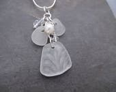 Wedding Beach Sea Glass Necklace Pearl White Bridal Jewelry