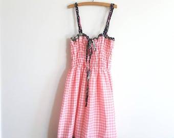 Vintage Pink Gingham Sundress