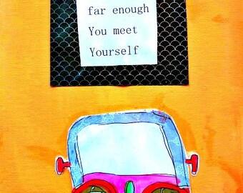 "VW Bug Cute Car 8.5"" x 11"" Wonder Original Flat Canvas Meet Yourself Inspiration Painting Mixed Media Peach Pink FREE SHIP"