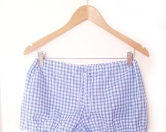 Gingham Bloomers, Check Pyjama Shorts, Retro Sleepwear, Pin Up Nightwear, Retro Sleepwear, Gingham Lingerie, Sizes XS-XXL