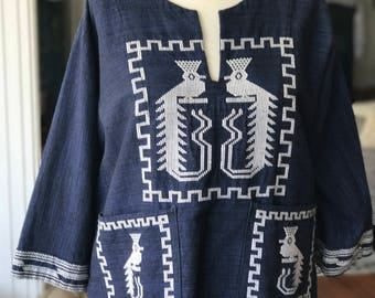 Vintage Guatemalan Navy Embroidered Bird Top fits S to M