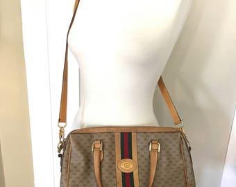 Vintage Monogram Gucci Bag Tote Purse with Detachable Long Strap