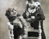 Antique girl with dog photo postcard, Antique French real photo postcard, girl with dog, antique dog real photo postcard, Scruffy dog photo