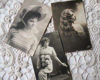 Antique French pretty girls photo postcard lot, Antique Edwardian girls and ladies photo postcard lot, Antique French real photo postcards