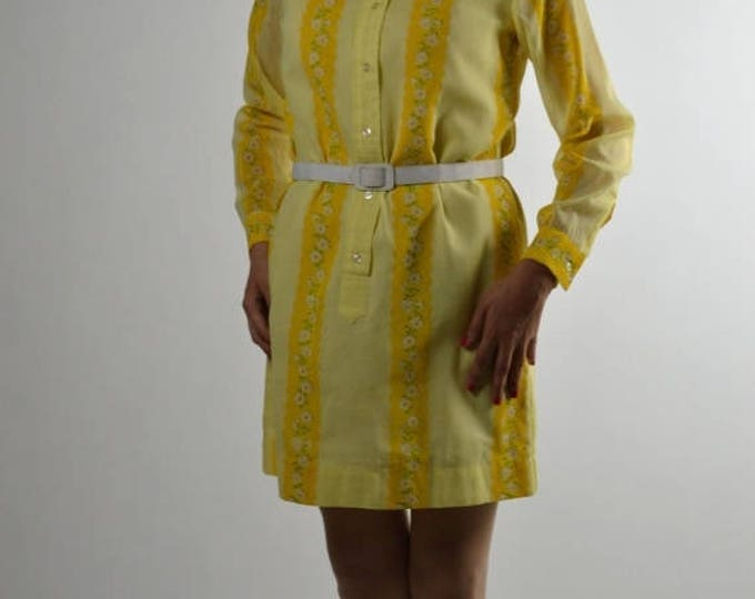 sale Vintage Dress, 70s Dress, Yellow Dress, Mini Dress, Preppy Dress, Shirt Dress, Office Dress,  Work Dress, Womens  Dresses