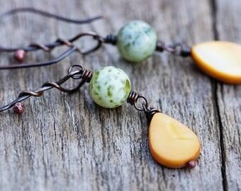 Yellow & Green Dangle Earrings | Copper Earrings | Agate Earrings | Boho Rustic Earrings | Bohemian Jewelry | Boho Earrings | Rustic Jewelry