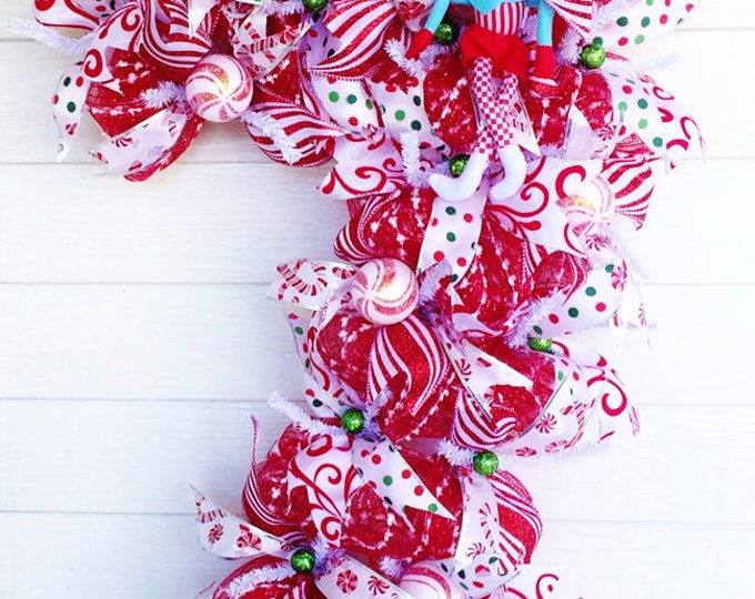 SALE- Glittery Candy Cane Elf Holiday Christmas - Welcome Door Wreath