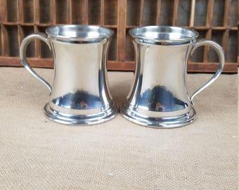 Vintage Leonard English pewter tankard mug glass bottom set of two