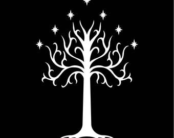White Tree of Gondor T-Shirt the lord of the rings the hobbit screen printed