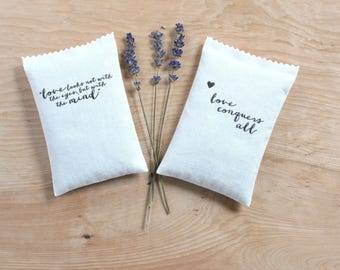 Shakespeare Quote lavender sachets, Literary Gifts for Her, love conquers all, love looks not with the eyes, but with the mind
