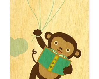 Reading Monkey Bookmark - Real Birch Wood Bookmark - Book Lover - Monkey Lover - WM2129