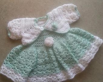 crochet baby dress and bolero 0-3 months